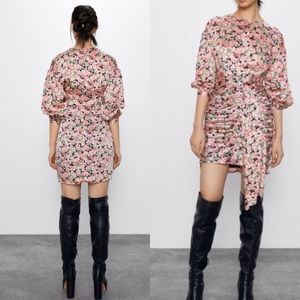 NWT! ZARA pink floral printed dress with draping M